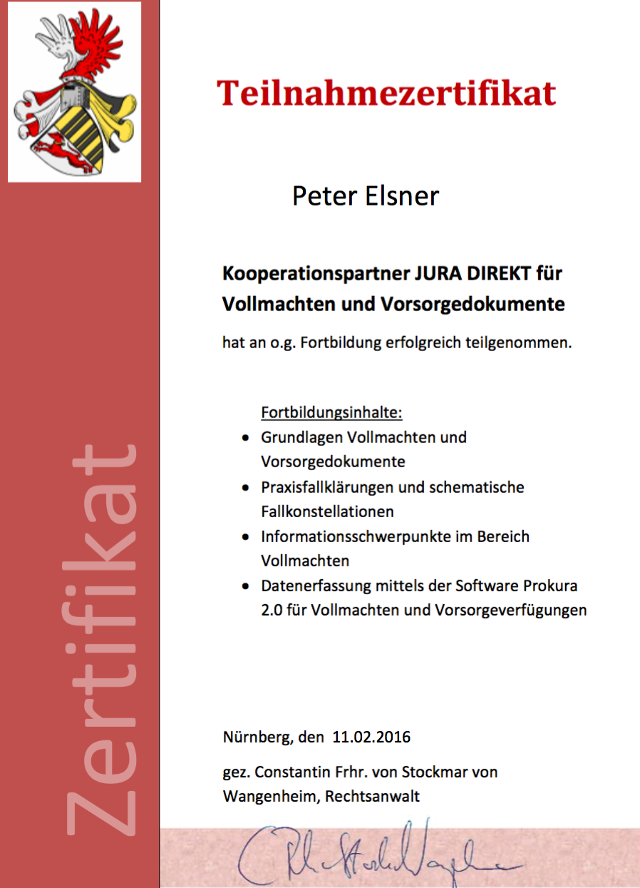 Zertifizierung   Willkommen bei Ihren   Peter Elsner